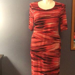 Red/black slimming layered dress, size 16